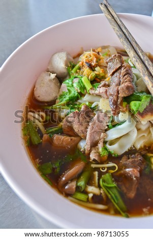 beef noodle soup of thailand - stock photo