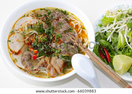 Beef Noodles in a bowl, vietnamese food, very spicy