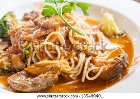 beef pasta - stock photo