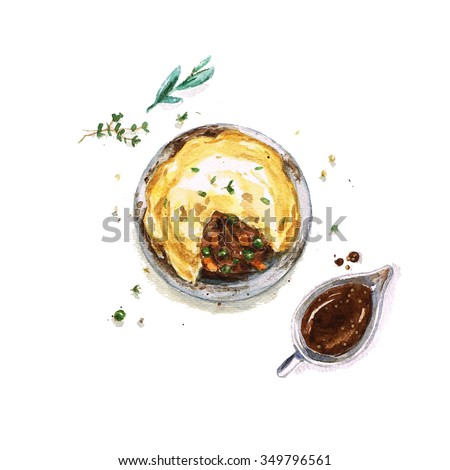 Beef Pie - Watercolor Food Collection - stock photo