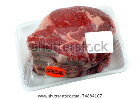 Beef Prime Rib Roast In Supermarket packaging With Blank Label For Your Design - stock photo