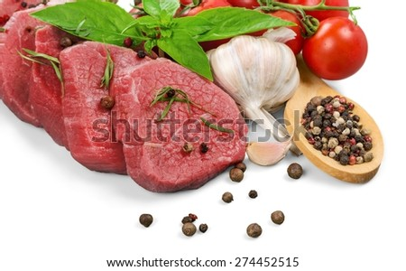 Beef. Raw beef on white background - stock photo