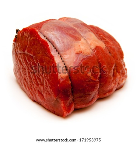 Beef roasting joint isolated on a white studio background.