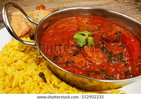Beef rogan josh an indian dish with tomato and spices a popular curry - stock photo