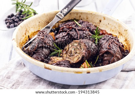 beef roulades filled with mushrooms - stock photo