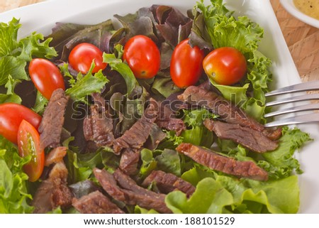 Beef salad and sauce Thai food.
