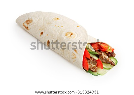 Beef shawarma wrap with vegetables. Infinite depth of field