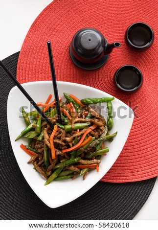 beef shreds with asparagus - stock photo