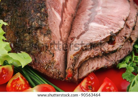 beef slice on red plate and vegetables - stock photo