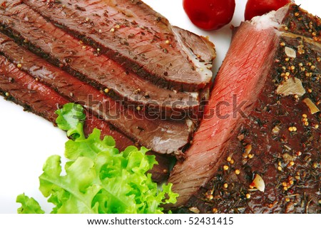 beef slice with chunk and red hot pepper