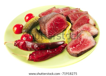 beef slices with peppers and cucumbers on green