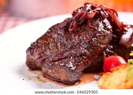 Beef steak and vegetables - stock photo