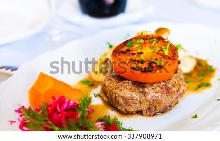 Beef steak. Beautiful restaurant. - stock photo