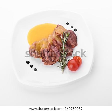 Beef steak medium grilled, isolated on white background - stock photo