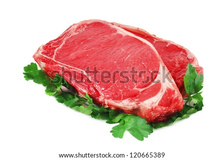 beef steak on white. Isolated - stock photo