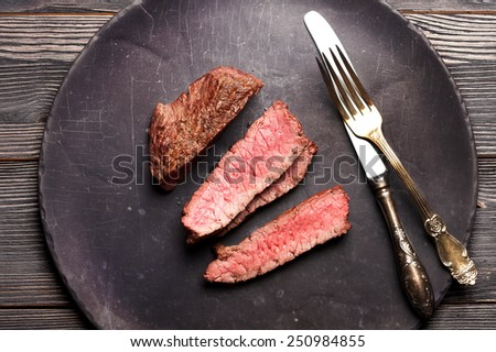 Beef steak slices. top view - stock photo