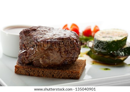 Beef Steak with BBQ Zucchini and Vegetables