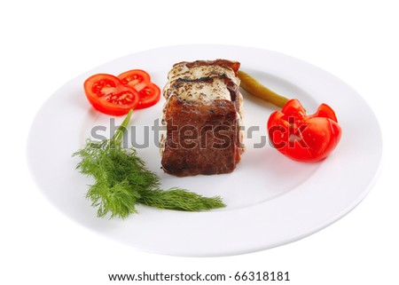 beef steak with melted yellow cheese over white