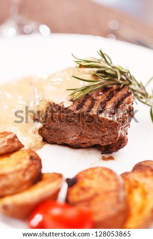 beef steak with potatoes - stock photo