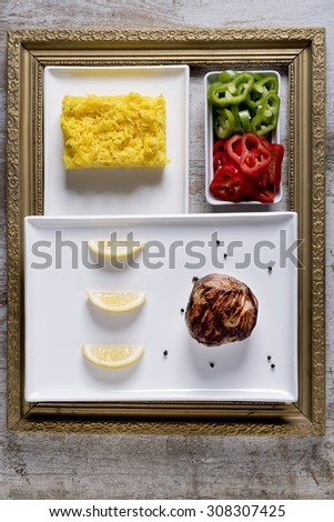 BEEF STEAK WITH SAFFRON RICE in Frame - FOOD PHOTOGRAPHY - FITNESS MENU