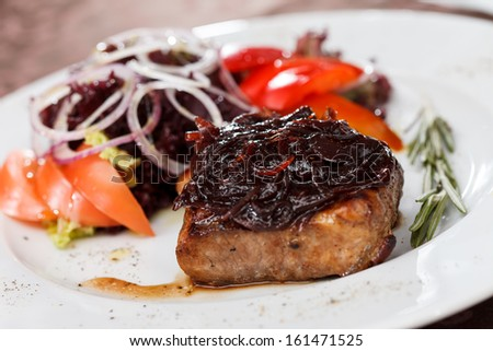 beef steak with salad - stock photo
