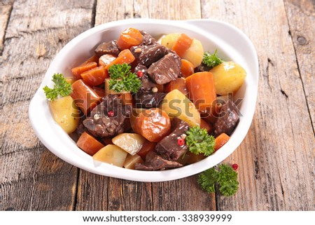 beef stew with carrot and potato - stock photo