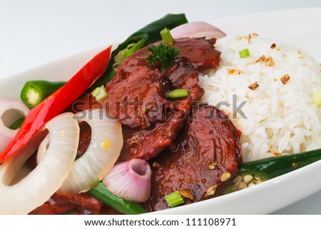 beef stir-fry with vegetable and rice asia food - stock photo