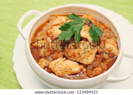 beef stroganoff with chicken in a tomato sauce - stock photo
