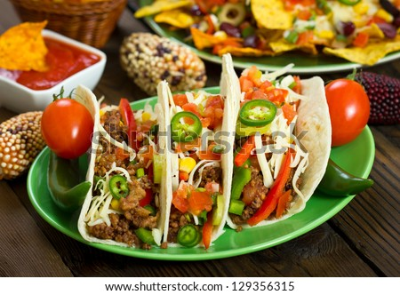 Beef Tacos - stock photo