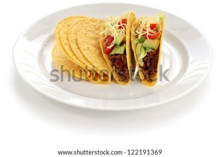 beef tacos, tex-mex mexican food - stock photo