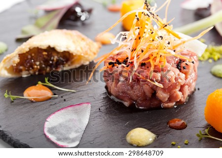 Beef Tartare with Various Dip and Vegetables - stock photo