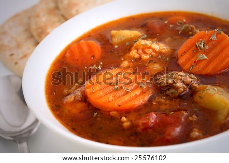 Beef vegetable soup - stock photo