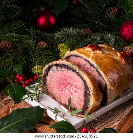 Beef Wellington as Advent creation - stock photo