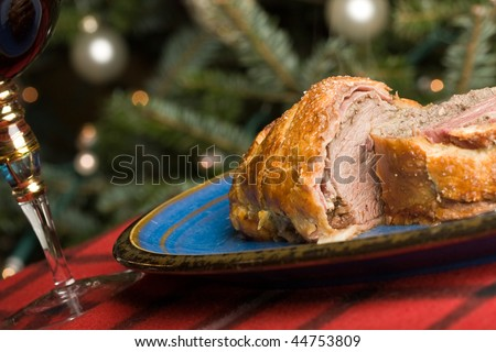 beef wellington tenderloin wrapped in ham mushrooms and puffy pastry - stock photo