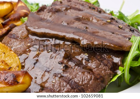 beef with baking potato - stock photo