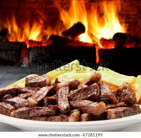 BEEF WITH POTATO - stock photo