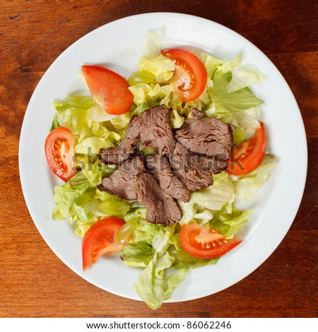 beef with salad