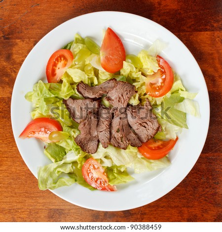 beef with salad - stock photo