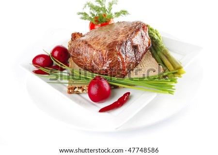 beef with vegetables and greenery on white - stock photo