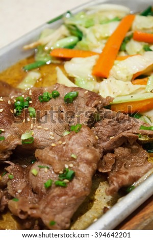 Beef with vegetables teppanyaki Japanese Cooking