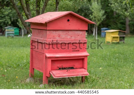 Beehives with bees in a honey farm - stock photo