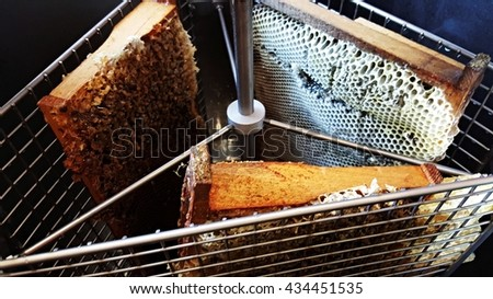 beekeeper collects the honey - stock photo