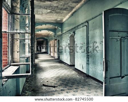 Beelitz sanatorium - scruffy blue hall - stock photo