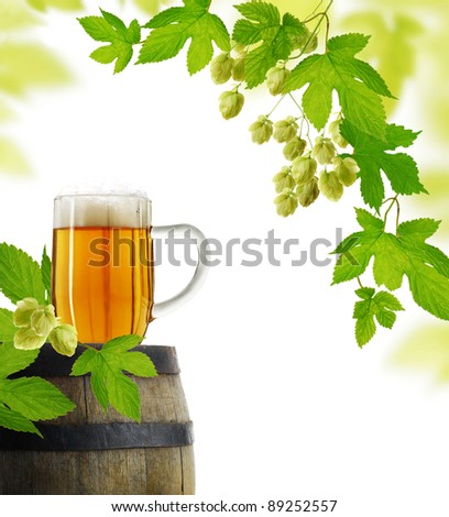 Beer and hop plant in retro style - stock photo