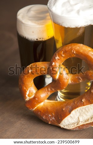 Beer and pretzel - stock photo