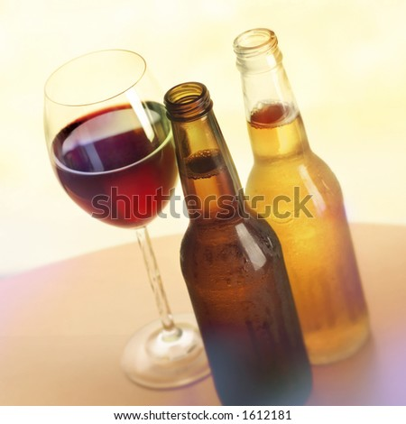 Beer and wine. - stock photo