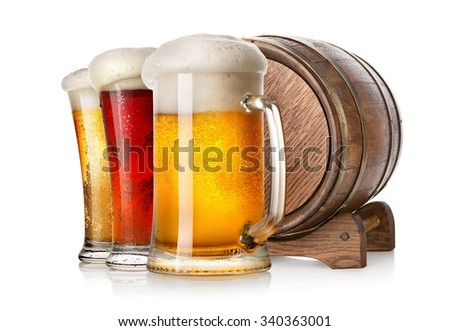 Beer and wooden cask isolated on a white background - stock photo