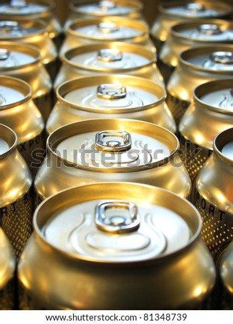 Beer banks in lines. Abstract composition - stock photo