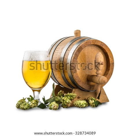 Beer barrel with beer glass and hops on white background - stock photo