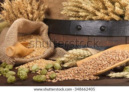 beer barrel with hops, wheat, grain, barley and malt - stock photo